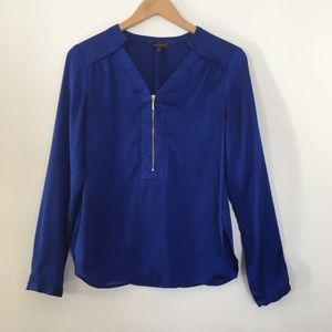 The Limited Silky Blue Zip-Up Long Sleeve Blouse